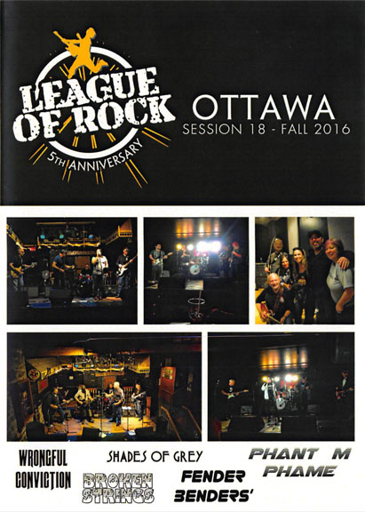 The cover of the League of Rock Ottawa Session 18 Fall 2016 CD with pictures of all five bands from that session.